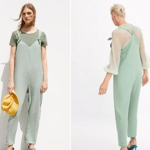 ZARA MINT GREEN TEXTURED KNOTTED JUMPSUIT